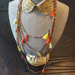 Fiesta Gold Necklace with colorful Fringe